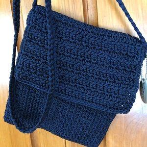 Talbots Navy Crocheted Crossover Bag